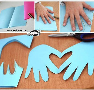 Here's another Valentine's Day shortcut idea that saves both time and money that we found on Pinterest. Make a hand and heart card easily by folding a sheet of paper in half and tracing the hand along the edge. Then cut the handprint out and you will find hands holding a heart! What a super...