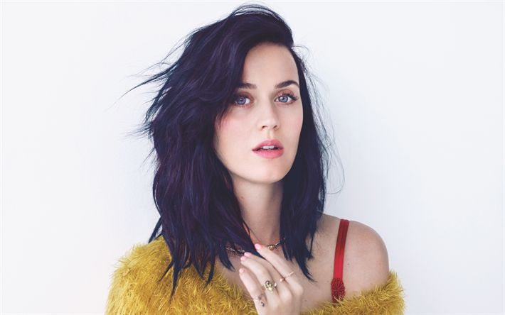 Download wallpapers Katy Perry, american singer, portrait, brunette, yellow sweater, Katheryn Elizabeth Hudson