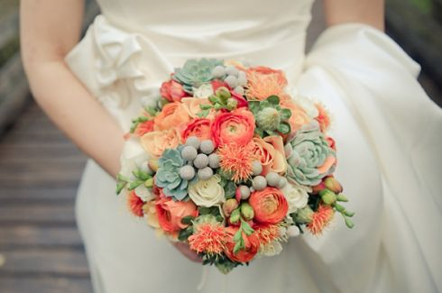 #Bouquet arancio con piante grasse