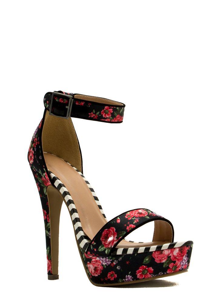 Rose Cluster Striped Print Platform Heels BLACK - GoJane.com