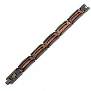 Men's Stainless Steel IP Black with Ebony Wood Window BraceletIp Black, Men Stainless, Ebony Wood, Steel Ip, Wood Windows, Windows Bracelets, Stainless Steel, Leather Bracelets