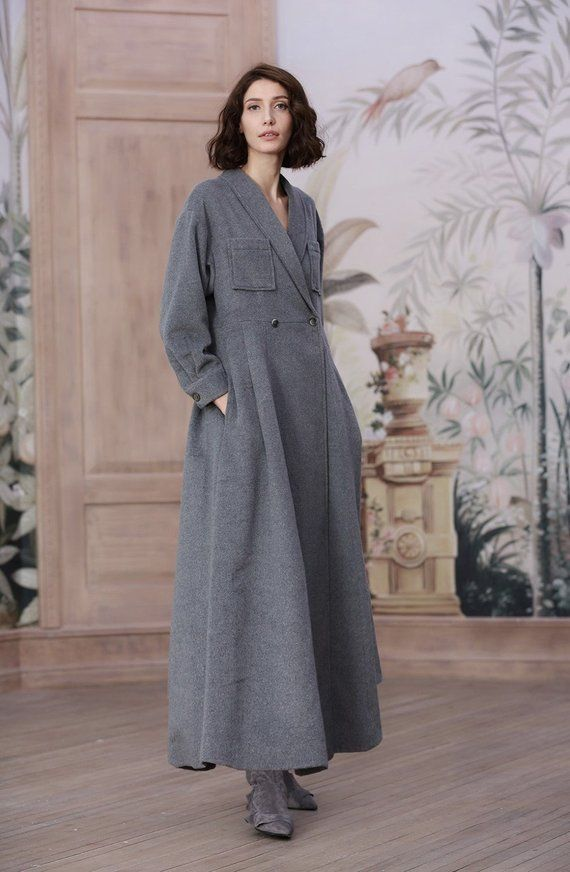 1f02bb8e0 gray wool coat, 100% cashmere coat, maxi coat in gray, black and mulberry, long  winter coat jacket, warm gray coat, modern coat, vintage