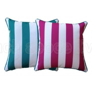 #PINK #BRIGHT #AQUA #Outdoor #Stripe #Cushion #Cover #Beachy #Reversible #UV…