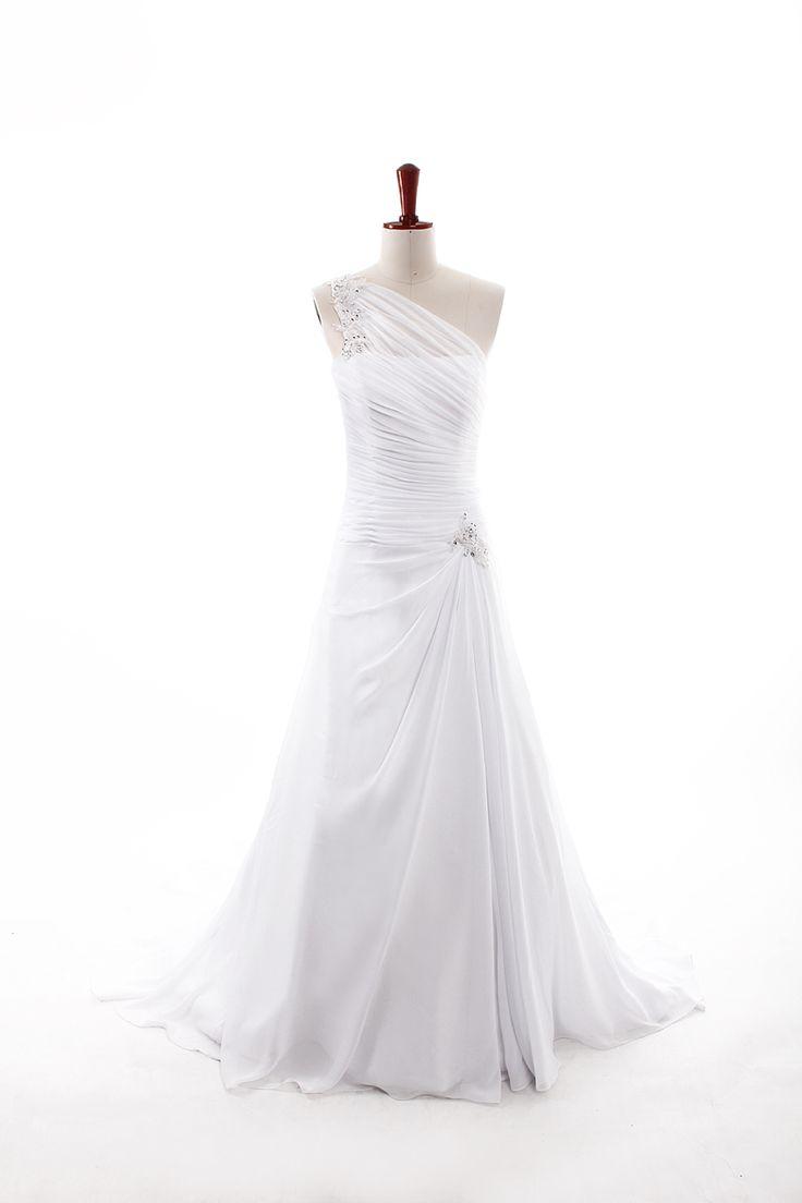 Fashionable One Shoulder Dropped waist Chiffon wedding dress