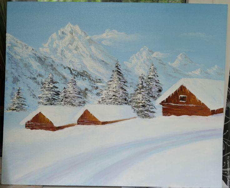 Купить Зимний пейзаж - белый, картина в подарок, картина, картина для интерьера, картина маслом