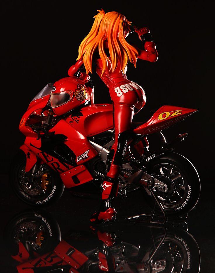 Asuka, from Neon Genesis Evangelion, as a motorcycle racer ...