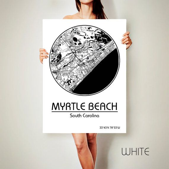 MYRTLE BEACH South Carolina CANVAS Map Myrtle Beach Poster City Art Print ArchTravel