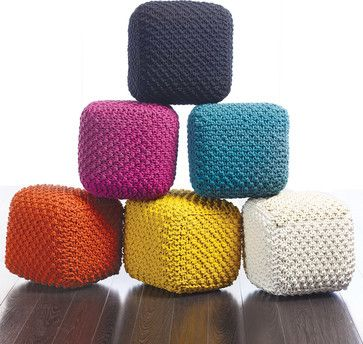 Tonia Cross Knitted Pouf - contemporary - ottomans and cubes - other metro - Dania Furniture
