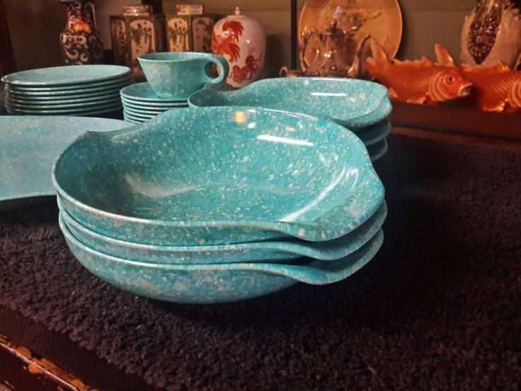 Mid Century Mod Russel Wright Residential Melamine Dinnerware Set For 8 Aqua Blue Speckled 31 Piece Plates Cup Saucer Bowls Platter by PhxLampsShades on Etsy https://www.etsy.com/listing/249199855/mid-century-mod-russel-wright