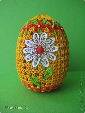 Поделка, изделие Квиллинг:  Квиллинговое яйцо. Бумажные полосы Пасха. Фото 1