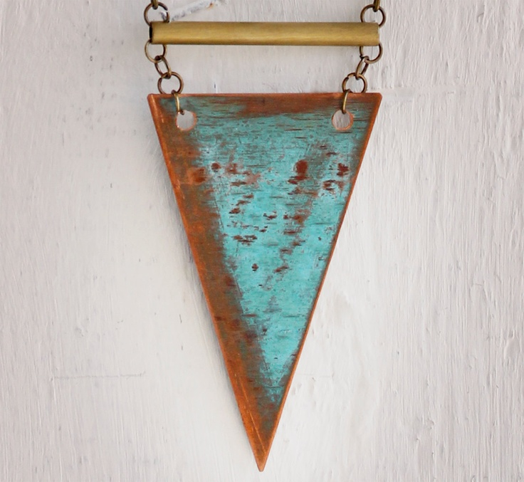 30% off - cybermonday - geometric pendant, teal copper jewelry - the gift of proper wording triangle pendant. $50.00, via Etsy.