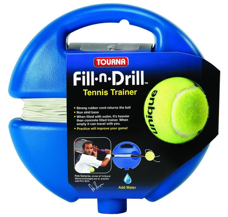 Tourna Fill and Drill Tennis Trainer. Fill-n-Drill Tennis Trainer: When filled with water, the base becomes heavier than any other Tennis Trainer on the market. Very light when empty, it can be stored