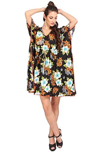 f0416e9d838 Miss Lavish Women s Kaftan Tunic Kimono Dress Summer Evening Plus Size  Beach Cover up 10-24 (Free Size