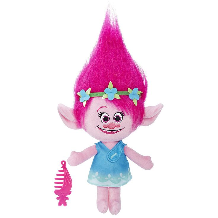 Experience the DreamWorks Trolls in a totally new way -- in a soft and cuddly, talking plush form! Let DreamWorks Trolls Poppy lift everyone around her up with her positivity! Her squishy doll body talks and features cool sound effects straight from the movie. The Poppy Talkin' Troll doll stands at 14 inches tall and includes lots of colorful, plush hair and a comb you can use to create trollicious styles! Collect all characters from the movie (sold separately).<br><br>Product...