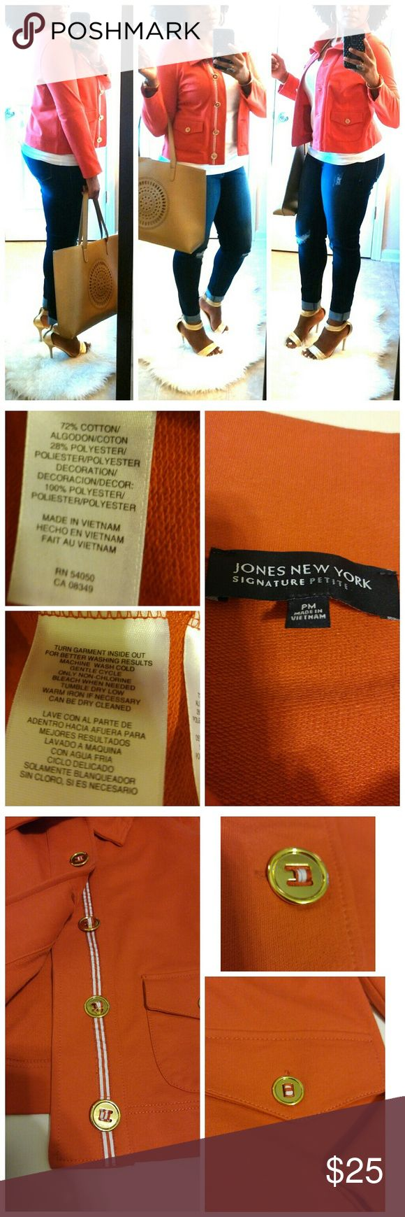Jones New York Signature Stretch Coral Jacket *This wonderful jacket by Jones New York is really cute!  It is coral, with beautiful gold buttons.  It has two front pockets, and a button down front closure.  It has a really nice comfortable stretch.  It is in great condition.  This is a nice jacket, that is truly versatile.  You can throw on some heels, or sneakers with it!* Jones New York Jackets & Coats