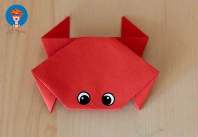 Krab vouwen - knutselen - Juf Jannie apps voor kinderen. Origami. Knutselen met kinderen. Thema zee