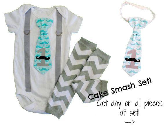 Little Man 1st Birthday Outfit. Mustache Cake by CuddleSleepDream
