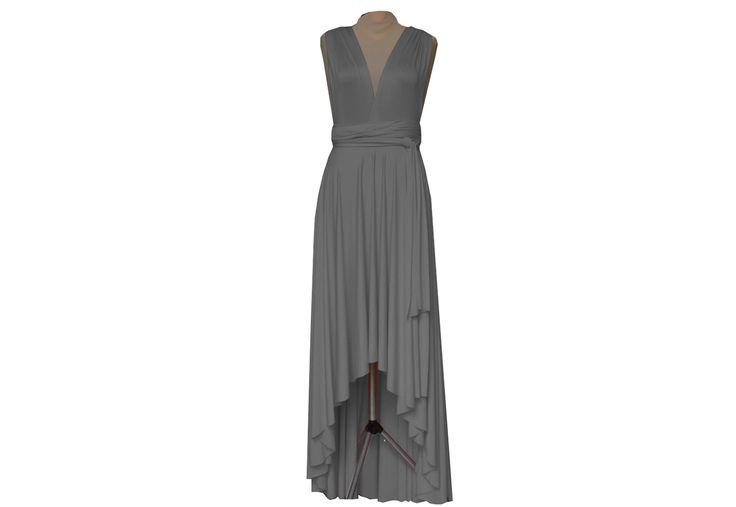 Convertible Wrap Bridesmaid Dress Grey Infinity High Low Gown Wedding Octopus Maxi Skirt Formal Evening Prom Party Dress by TwistWrap on Etsy https://www.etsy.com/listing/204838372/convertible-wrap-bridesmaid-dress-grey