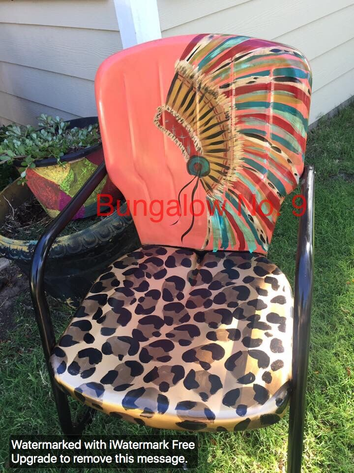 Headdress and leopard vintage lawn chair