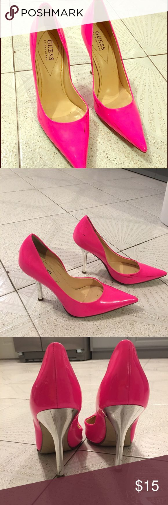 sale🔥Guess by Marciano hot pink pumps - worn once worn once! guess by Marciano hot pink Patent pumps size 6.5 - slightly scuffed Guess by Marciano Shoes Heels