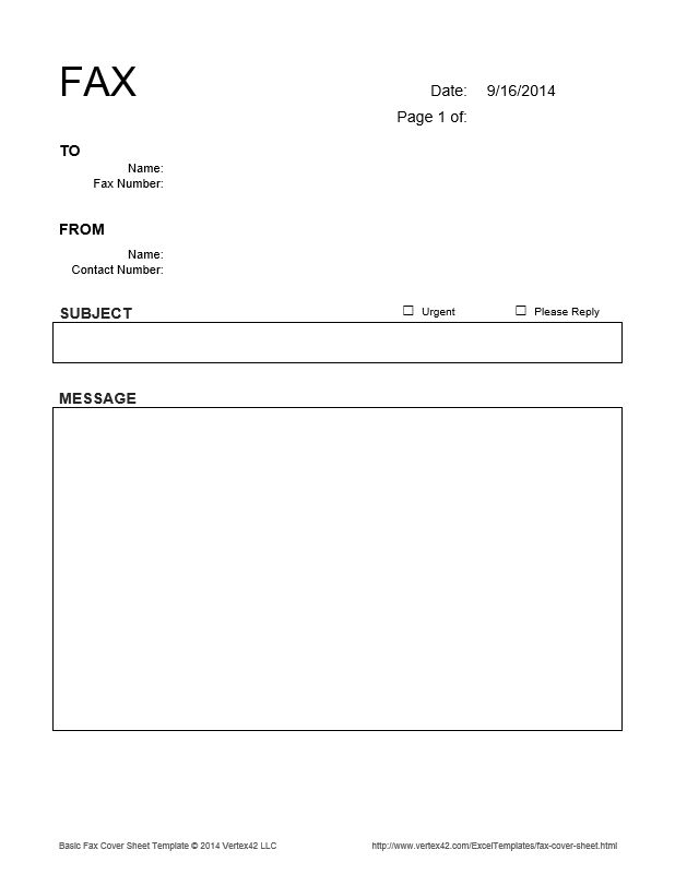 Download the Basic Fax Cover Sheet from Vertex42.com