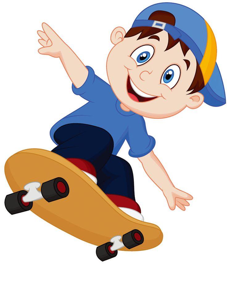 玩滑板的卡通男孩