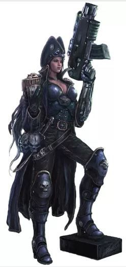 A female Rogue Trader armed with a Bolter. All Rogue Traders are highly exceptional individuals who are driven to success beyond the dreams of the ordinary men and women of the Imperium of Man even though these exceptional people often have extreme character quirks themselves; some destroy entire worlds for the slightest reason, or include alien warriors and mutants among their entourage in direct violation of Imperial orthodoxy.