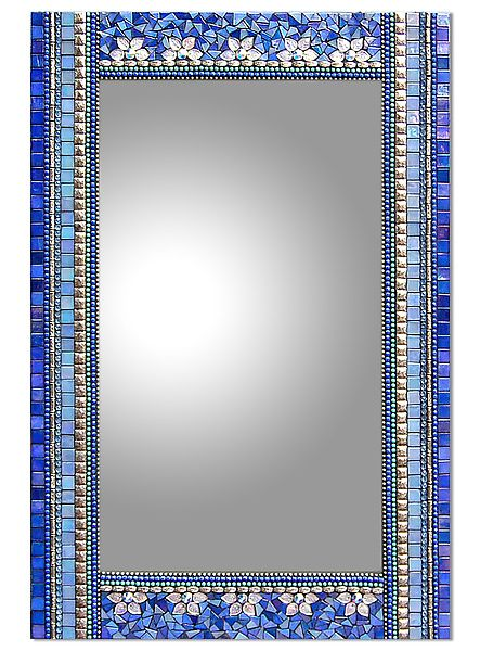 Blue Flora by Angie Heinrich: Mosaic Mirror available at www.artfulhome.com