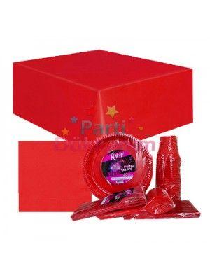 Kırmızı Parti Malzemeleri Seti (25 Kişilik)