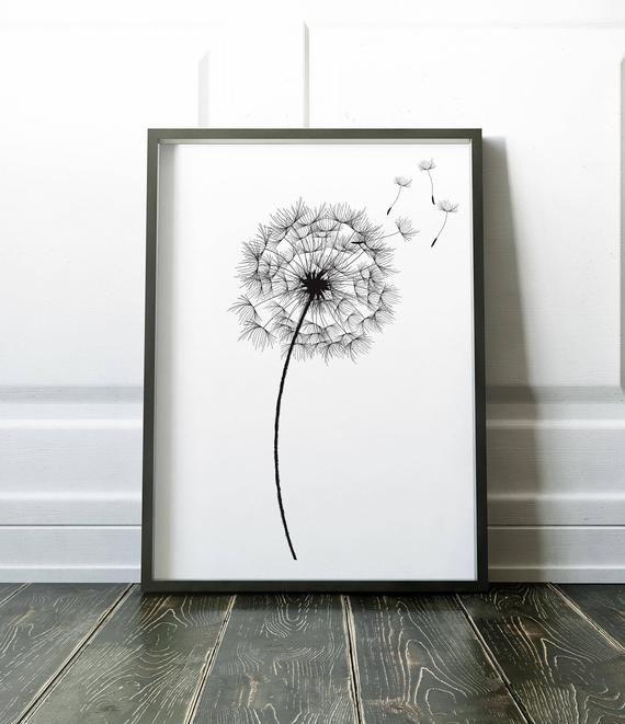 Botanical Print, Wall Art Print, Dandelion Print, Black White Print, Black White Art, Botanical Wall Art, Flower Wall Art, Minimalist Print