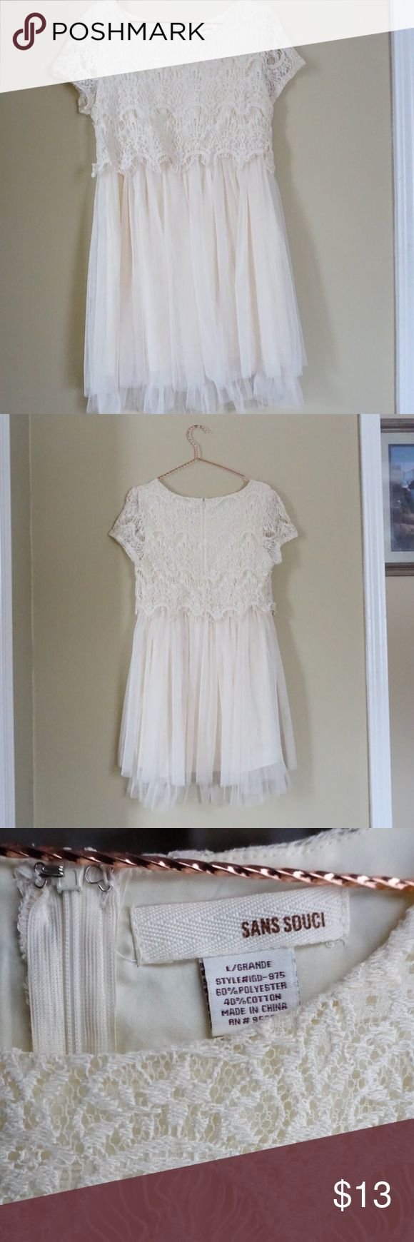 """Lace dress by Sans Souchi Cream colored. (Compared next to white computer paper). Hits about 3-4 inches above knee and I'm 5'6"""". Sans Souci Dresses Mini"""