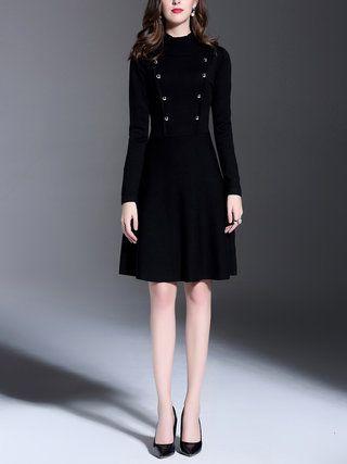 Black Turtleneck Long Sleeve Buttoned Plain Midi Dress