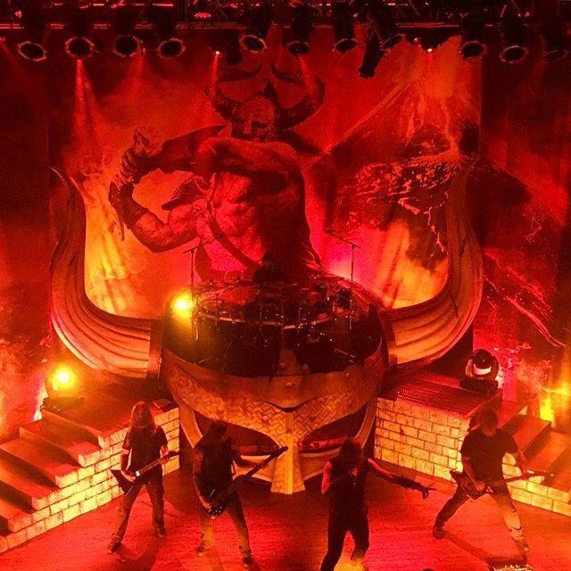 Amon Amarth on stage during the Surtur Rising tour
