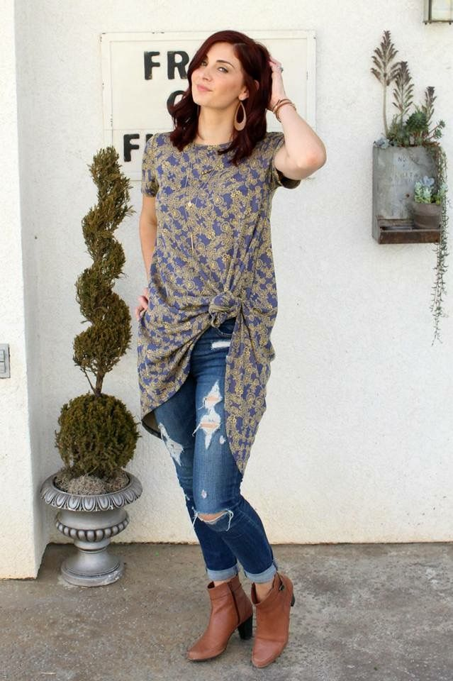 LuLaRoe Carly knotted and worn as a tunic