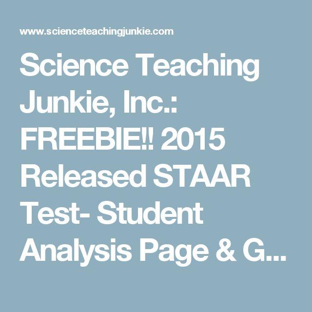 Science Teaching Junkie, Inc.: FREEBIE!! 2015 Released STAAR Test- Student Analysis Page & Goal Setting
