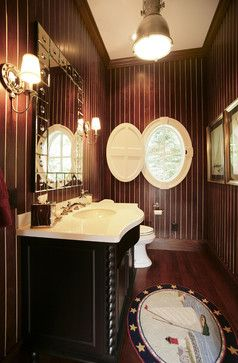 Teak powder room that captures the feeling of being on a boat. #powderroom More nautical bathroom ideas here http://www.completely-coastal.com/2008/09/nautical-bathroom-decorating-ideas.html on Completely Coastal.