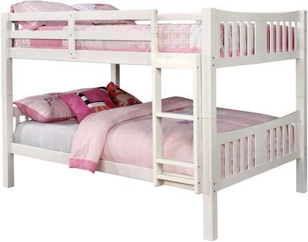Cameron Collection CM BK929F WH BED Full Size Bunk Bed With 10 PC Slats Top Bottom Front Access Fix