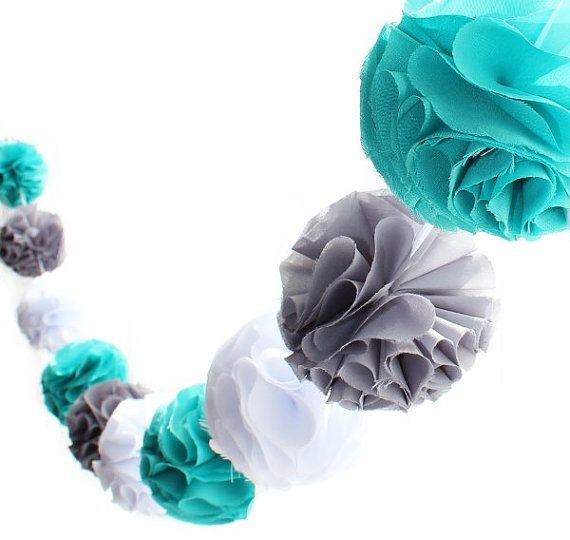 Turquoise, Gray and White Pom Pom Garland with Fabric Poms ----jus need to add a little neon green in there !