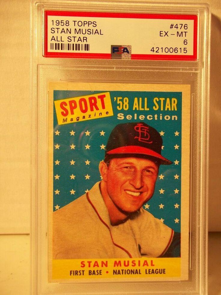 1958 topps stan musial psa exmt 6 baseball card 476 mlb
