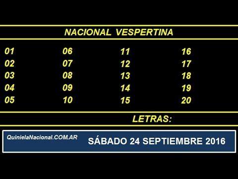 Video Quiniela Nacional Vespertina Sabado 24 de Septiembre de 2016 Pizarra del sorteo vespertino en el recinto de Loteria Nacional a las 17:30