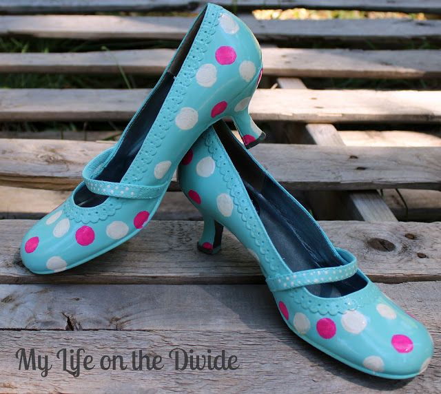 DIy Polka Dot Shoe Refashion