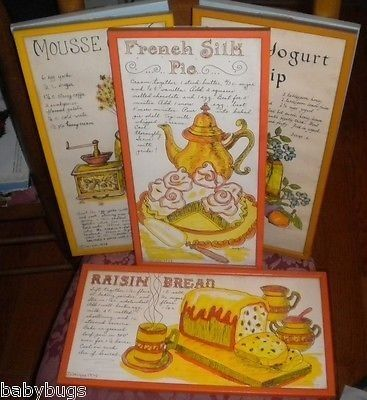 6 RETRO Kitchen Signed Vintage Art Framed Prints Jacque U0026 Pati  Handdecorated (12/25