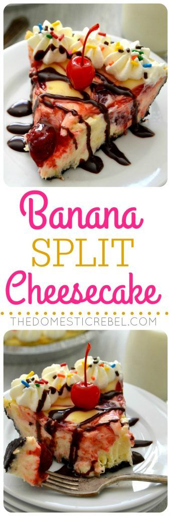 This Banana Split Cheesecake is creamy, smooth, rich, fruity and tastes JUST like a banana split! Super simple to make and great for parties!