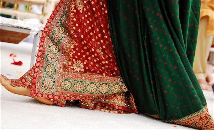 panetar....white and red Saree or Chaniya choli for Gujarati bride