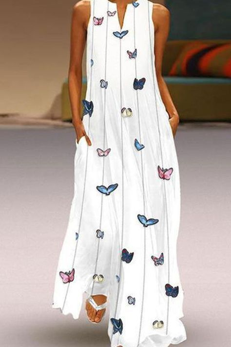 Butterfly Printed Maxi Shift Dress -Chicokay