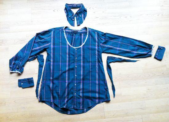 blouse femme a partir d'une chemise d'homme