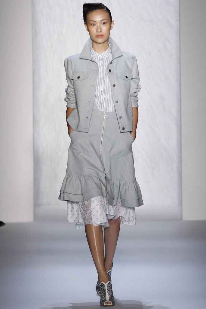 Suno Spring 2013 Ready-to-Wear Collection - grey demin jacket and ruffled skirt. taylor swift def #nyfw #bazaartSummer 2013, Fashion Weeks, 2013 Readytowear, 2013 Rtw, Spring Summer, Spring Summe 2013, Spring 2013, Suno Readytowear, Suno Spring