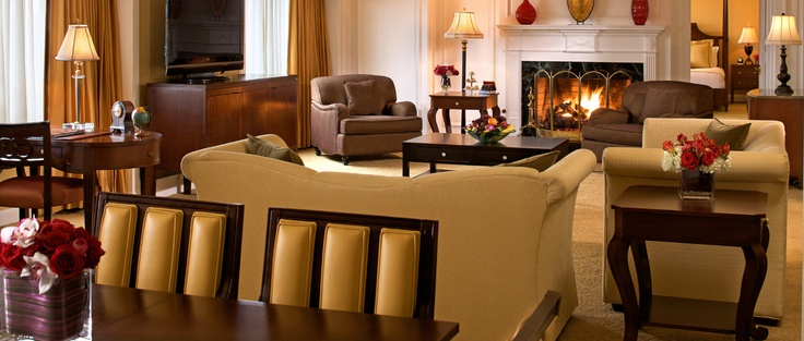 The Presidential Suite at The Ritz-Carlton, Tysons Corner is stately suite that allows comfortable seating for eight and a view of the Washington, D.C. skyline.