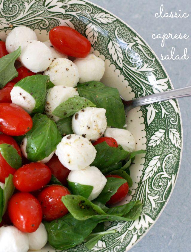A classic summer salad recipe - tomato and mozzarella caprese salad. Naturally Gluten Free.
