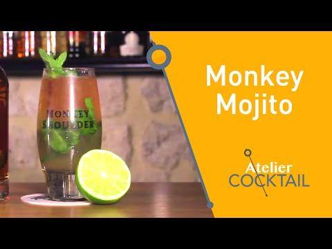 Monkey mojito (Scotch Whisky Monkey Shoulder, 1 trait Angostura Bitters, 2 cl Jus de citron vert, 4 cl d'eau gazeuse, 12 feuilles menthe, 1.5 cl Sirop de sucre)